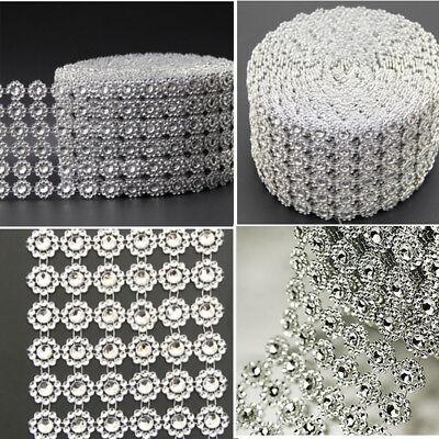 DIAMOND MESH WRAP ROLL CRYSTAL RHINESTONE SPARKLE BLING RIBBON/WEDDING DECOR - Plastic Diamonds