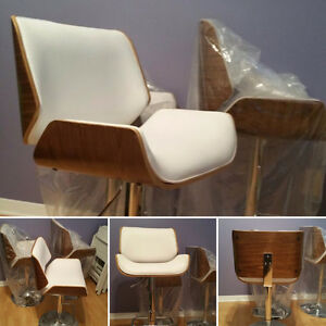 Leather and Wood Bar Stool Chairs (Set of 3)