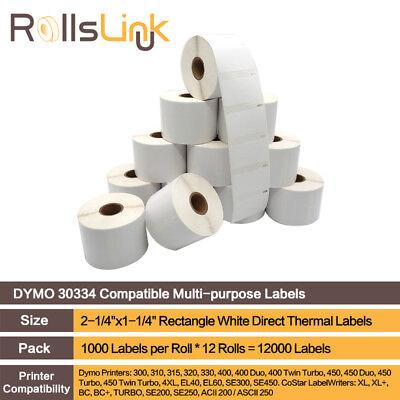 RollsLink 12 Rolls White DYMO 30334 Labels Multi-purpose Compatible LabelWriter 30334 Multi Purpose Label