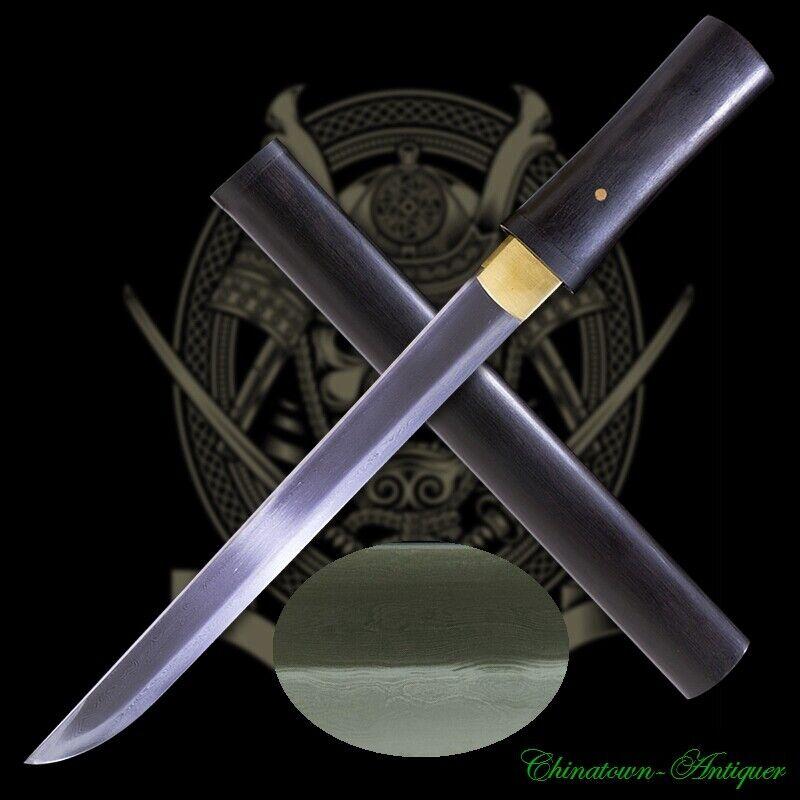 Japanese Tanto Short Sword Kobuse Jihada Forged Clay Tempered Hamon Blade #3180