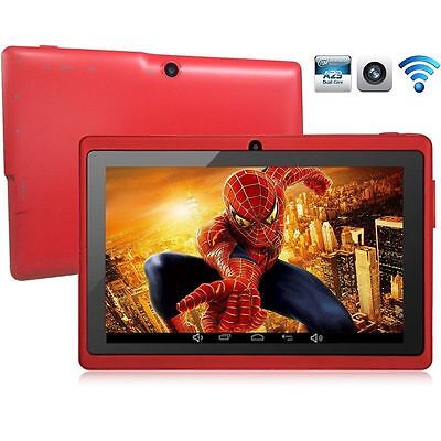 """Red 8GB 7"""" Android 4.4 Tablet PC for Kids Children A33 Quad Core Kid MID WiFi"""