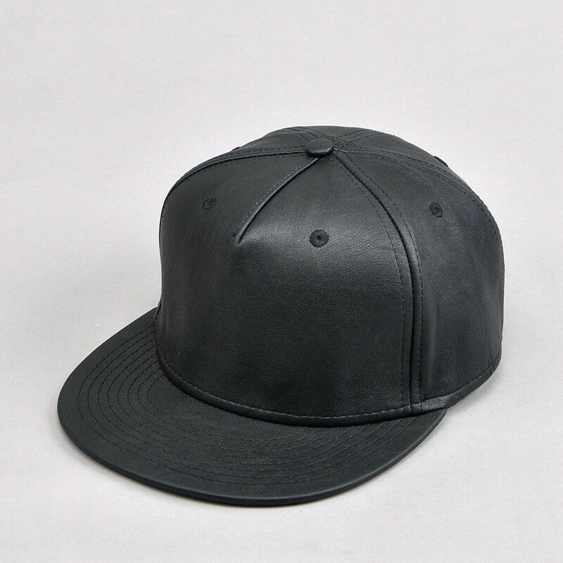 Black Faux Leather Snapback Baseball Cap Plain Flat Peak