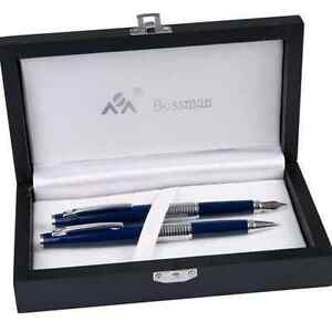 PEN SET BLUE W BALLPOINT AND FOUNTAIN PENS PARKER REFILL BOXED DAD MEN'S GIFT