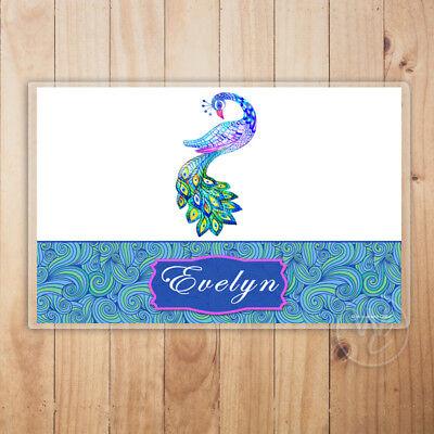 Kid's Personalized Placemat, Peacock Laminated Placemat With Child's Name](Baby Peacock Name)