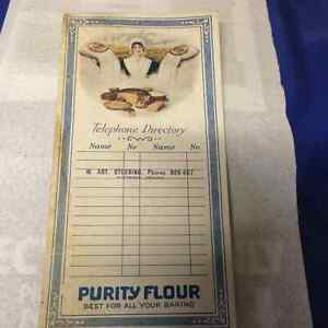 OLD PURITY FLOUR CARDBOARD TELEPHONE DIRECTORY - PARKER PICKERS