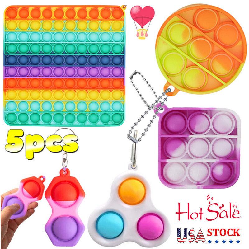 5 Pack Sensory Fidget Toys Set Stress Relief Simple Dimple Squeeze Bubble Game