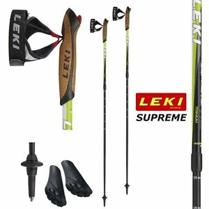 Leki Pair Nordic Walking Pole Supreme Hiking Cork Handles Quick Relese Straps