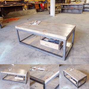 2 inch Slab and Steel Coffee table w/ Pull out Crate Shelf London Ontario image 1