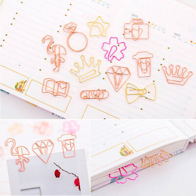 5pc Flamingo Diamond Star Bookmark Paper Clip Hollow Metal Binder Office Supply