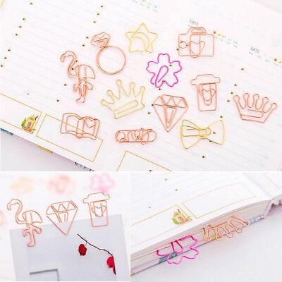 5pc Flamingo Diamond Star Bookmark Paper Clip Hollow Metal Binder Office Supply