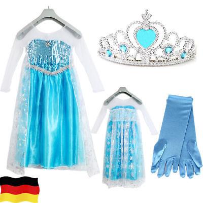 Elsa ElsaKleid Eiskönigin Frozen Kostüm Prinzessin Krone Diadem Karneval Kinder
