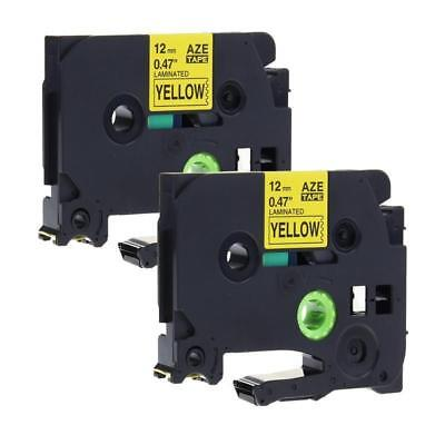 2pk Black On Yellow Label Tape Fit For Brother Tze 631 Tz 631 P-touch 12mm 12
