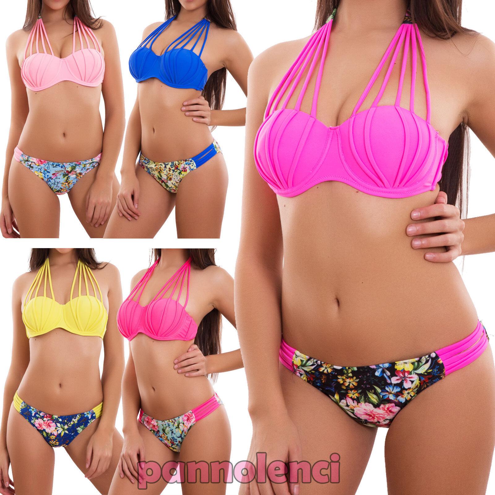 9fdeeb41e8b6 Detalles de Bikini Mujer Traje de Baño Mar Slip Cordones Flores Push Up  Sexy Nuevo A8926