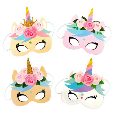 12PCS Rainbow Unicorn Party Masks Rainbow Birthday Paper Headbands Kids - Kids Masks