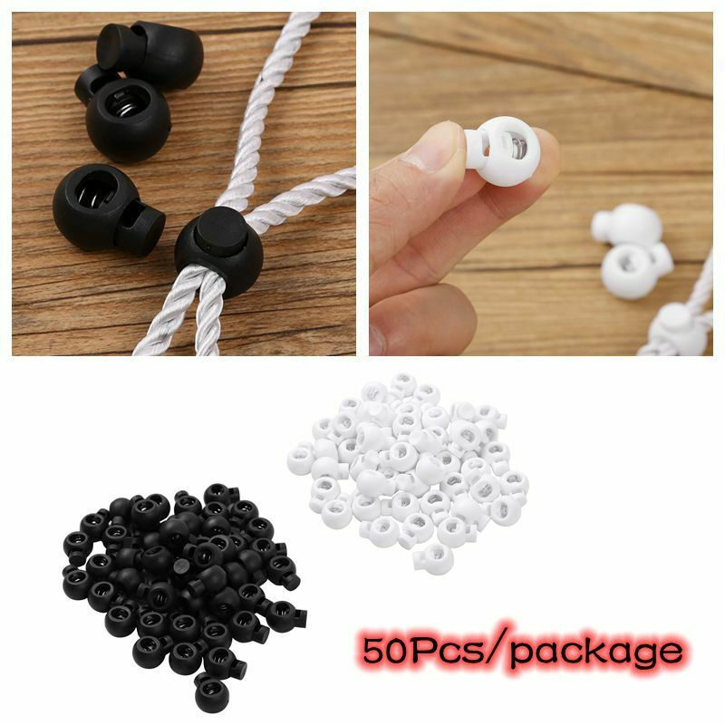 50Pc 1.7cm Toggle Spring Loaded Rope Cord Locks Clip Ends Sliding Stopper Button