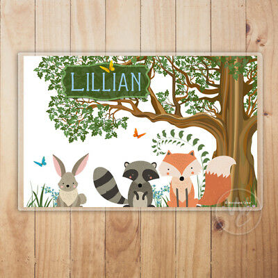 Kid's Personalized Placemat, Woodland Animals Laminated Placemat, Child's Name