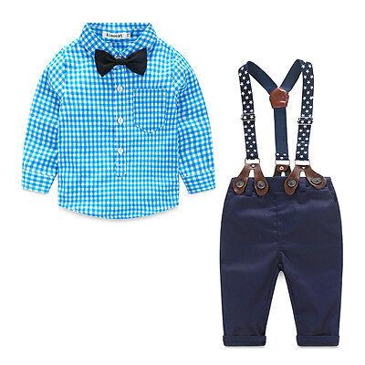 (2Pcs Newborn Infant Baby Boys Gentleman Clothes Shirt Tops Bib Pants Outfits Set)