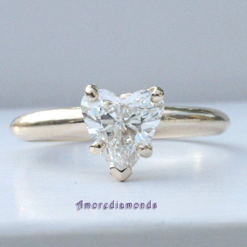 0.8 ct GIA laser inscribed heart shape diamond solitaire engagement ring gold