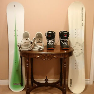 Two snowboards, bindings and boots
