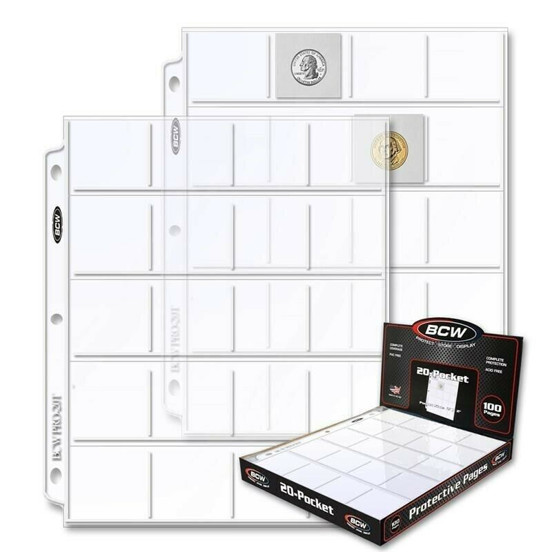 2x2 Coin Pages 1 Box Of 100 20 Pockets Album Clear Sheets Acid Free Bulk By BCW