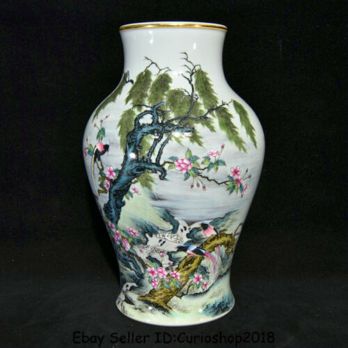 "12.2""Qianlong Marked Old China colour enamels Porcelain Flower Birds Bottle Vase"
