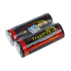 2Pcs/lot 3.7V 5000mAh TrustFire 26650 Rechargeable Li-ion Battery with PCB O2G3
