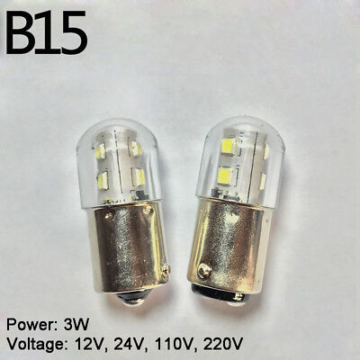 3w Single (B15 LED Bayonet Warning Light Bulb Lamp 3W 12/24/110V/220V Single/Double Contact)