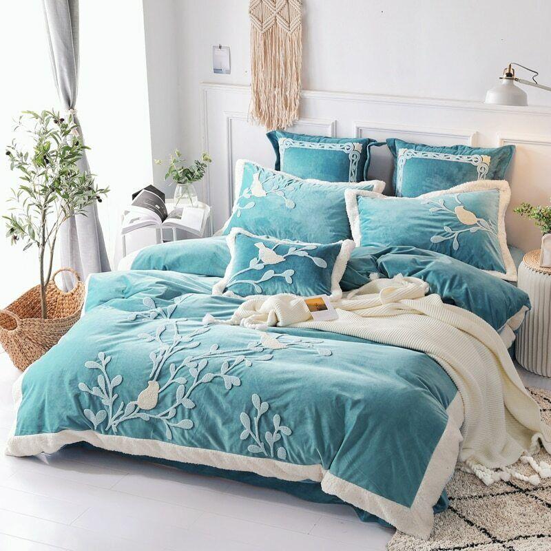 bedding set fleece fabric bed sheet comforter