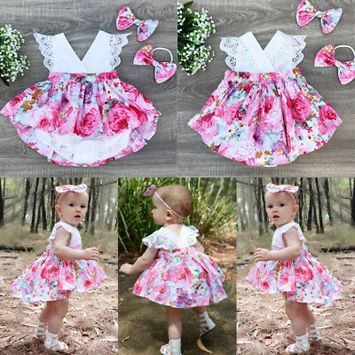 Kids Baby Girl Christmas Sister Matching Clothes Romper Lace Party Dress - Kid Christmas Dresses