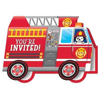 Flaming Fire Truck Party Invitations (8) - Birthday Party Supplies - Fire Truck Birthday Supplies