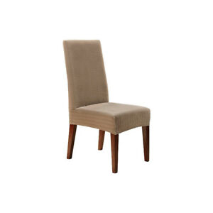 SURE FIT STRETCH PINSTRIPE SHORT DINING CHAIR SLIPCOVERS - FJN
