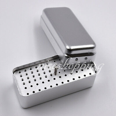 Dental 72 Holes Bur Holder Endo File Stand Autoclave Disinfection Box Silver