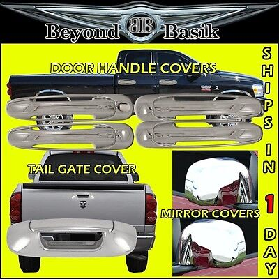 For 2002-2008 DODGE RAM 1500 2500 GLOSS BLACK Door Handle COVERS W//1 KH+Tailgate