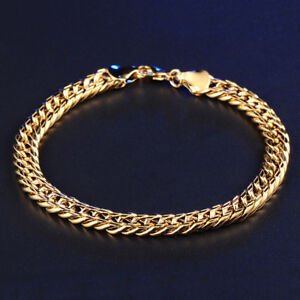 6mm thick Bracelet 18k Yellow Gold Snake Cuban Link Chain