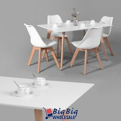 Modern Kitchen Dining Table Wooden Oak White Top Melamine Beech Wood Legs