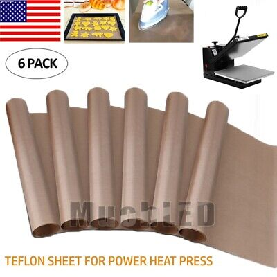 6pcs Teflon Sheet For Heat Press Transfer Non Stick Ptfe Craft Mat Baking Cloth