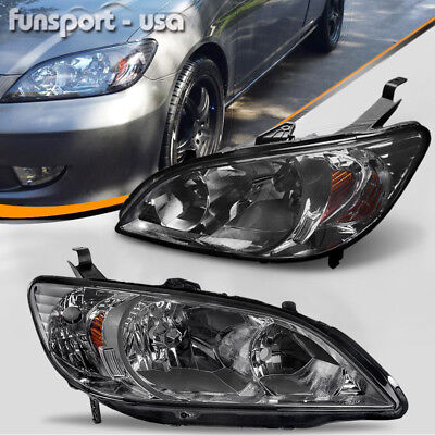 Headlights Assembly for 2004 2005 Honda Civic 2Dr/4Dr Black Headlamps Left+Right
