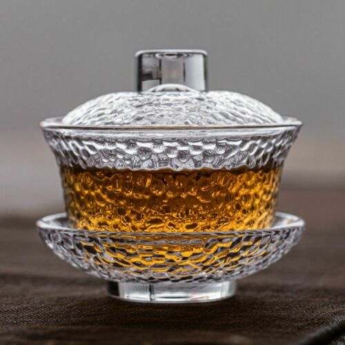 Rugged Design Heat Resistant Glass Gaiwan Anti-skid Tureen Vintage Handmade Bowl
