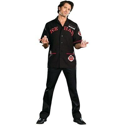 Mens DOCTOR REHAB Adult Black Dr Costume Shirt + Name Tag Large 42 44 Halloween