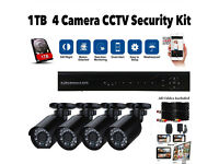 CCTV Security Camera System. Full Kit. 1TB HDMI 8Ch DVR. 4 Cameras. Cables. Mobile Phone Viewing
