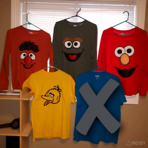 Set of 4 Sesame Street Tshirts - group costume