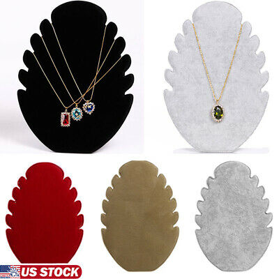 Velvet Jewelry Holder Organizer Necklace Pendant Chocker Rack Storage Display US