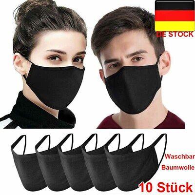 10x Baumwolle Gesichtsmaske Mund Nasen Schutz Waschbar Schwarz Männer Frauen DE