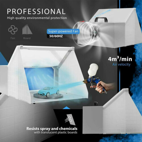 Portable Airbrush Spray Paint Booth Kit &LED Light Exhaust Filter Hobby Painting