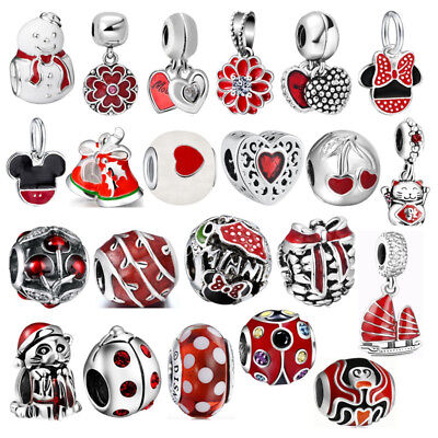 Hot 2019 New Year Gift Red Charms Cartoon Beads For Sterling 925 Bracelets Chain - New Year Gift