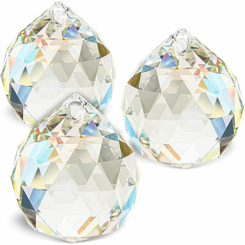 "3pcs 40mm 1.6"" Crystal Glass Ball Prism Rainbow Maker Suncatcher Hanging Pendant"