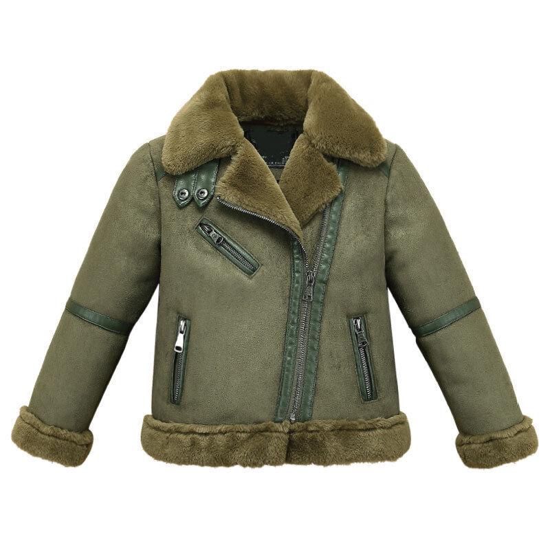 Outerwear Leather Jackets Coat Kids Boys Girls Biker Fleece