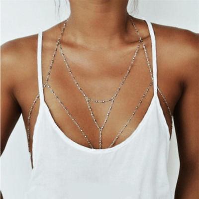 Sexy Body Chain - Body Chain Harness Silver, Clubbing Club Wear, Festival Rave, Sexy Jewelry Bra