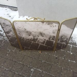 BRASS SMOKED GLASS FIREPLACE SCREEN CONTENTS QUICK SALE