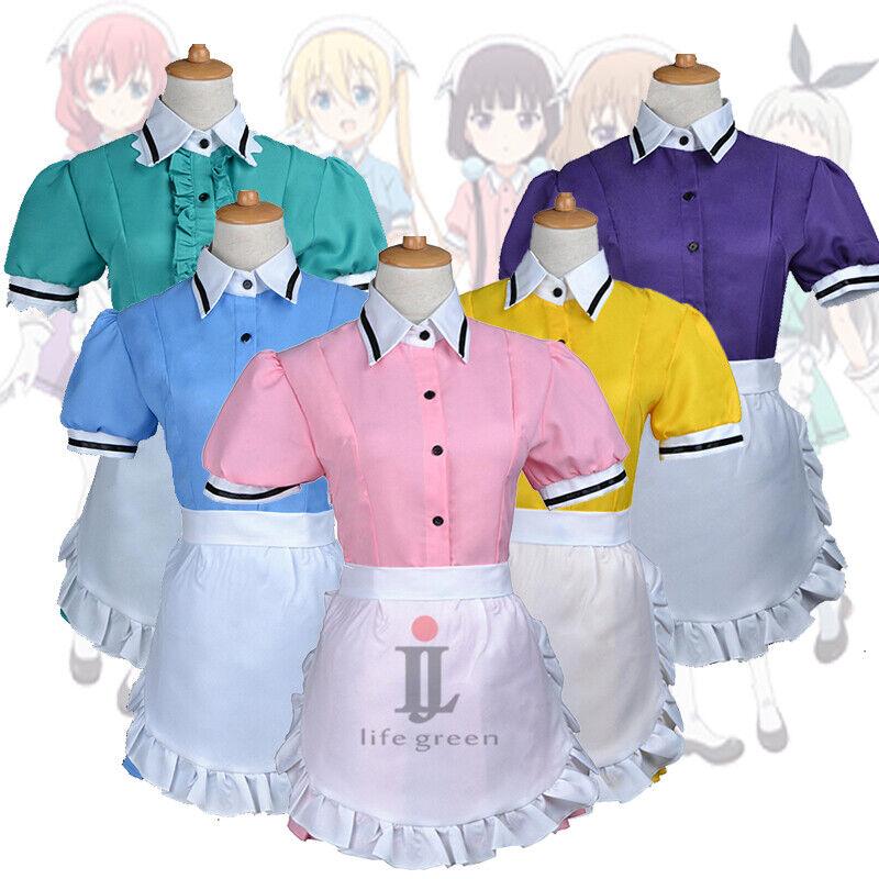 Blend S Hinata Kaho Blue Maid Service Uniform Cosplay Costume Free Shipping